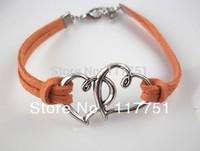 Handmade Braided PU Leather Bracelet Sideway Vintage Alloy Double Heart Bracelet Infinity Bracelet Karma Bracelet
