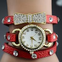 Free shipping wrap Around Bracelet Watch,Bowknot Crystal Imitation leather chain women's Quartz Rhinestone wrist watches
