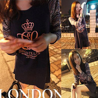 Spring 2014 women's print young girl top long-sleeve basic shirt HARAJUKU female t-shirt