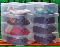 10pcs/lot PP plastic clear female size shoes box organizer 33*20*12cm