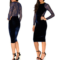 Sexy Women Lady Velvet Lace See-through Bodycon Party Evening Club Pencil Dress New 2014 Hot Selling
