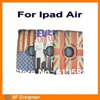 High Quality  National UK USA Flag PU Leather Stand Case For Ipad Air 360Degree Rotating Retro case 10pieces/lot
