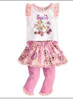 Retail 2014 summer fashion kids clothes cartoon T-shirt + print dress princess + cotton children pants baby girl clothing set