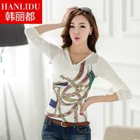 Female t-shirt long-sleeve cotton 2014 spring women's plus size top basic shirt female slim