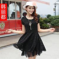 2013 one-piece dress plus size clothing lace white 33058 basic skirt