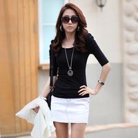 Autumn women's half sleeve o-neck short-sleeve slim t-shirt female puff sleeve top