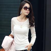 Autumn women's lace basic shirt slim all-match short design t-shirt female long-sleeve plus size