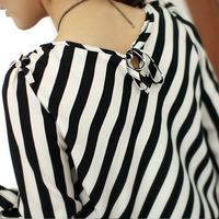 2013 autumn women's chiffon top black and white stripe ol loose long-sleeve chiffon shirt