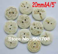 W040 Fashion Mixed Buttons 20mm Wooden Button 150pcs Garment Button