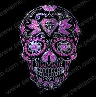 30Pcs/Lot Free Shipping Skull Hot Fix Rhinestone Trimming Heat Transfer Iron On Designs Custom Applique