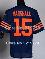 Men's American Football Jerseys Chicago 15 Brandon Marshall Elite Team Color Home Navy Bule Road White Throwback Orange Jersey