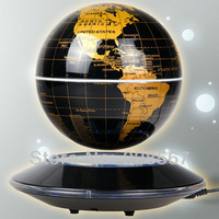 Glod Magnetic Levitation Floating 6inch Globe W/Black Base with LED light Gift Furniture Decoration Free Shipping