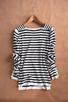 Free Shipping New Spring Fashion 2014 Women Basic  rivet asymmetrical stripes basic all-match sweater shirt