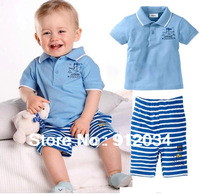 2014 new brand boys summer clothing set kids outfit paper boat solid t-shirt + stripe pants 1set retail children's sports suits
