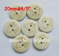 W040 Fashion Craft  Button 20mm Round Garment Buttons 120pcs Wood Button