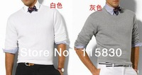 Men's fashion solid color polo sweater round neck sweater free shipping casual fashion designer pullover sweater offer 15 colors