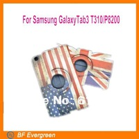High Quality  National UK USA Flag PU Leather Stand Case For Galaxy Tab3 T310/P8200 360Degree Rotating Retro case
