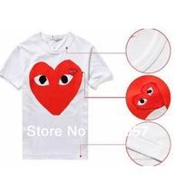 fashion Cotton T-shirt COMME DES GARCONS play lovers turn-down shirt male women's shirts