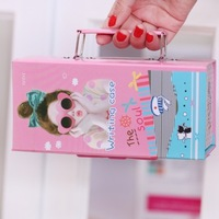 2014 Beautiful girl design  Password pencil case pen box pencil box  19cm*9cm*6.5cm Free shipping