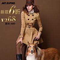 2014 spring women's puff sleeve double breasted slim waist dress trench outerwear