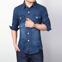 Hot-selling free shipping 2014 men's boutique casual denim long-sleeved shirt , spring single-breasted denim shirt. XZ32