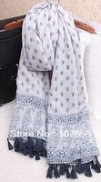 2014 Fashion New design Ladies  Paisley print tassel scarf    Free shipping