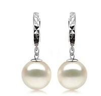 Free shipping  pure silver  Fashion pearl earrings female drop earring Allergy ear south sea shell bead pearl  silver jewelry