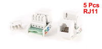 5 Pcs Snap in RJ11 4P4C Telephone Modular Jack Socket Module White