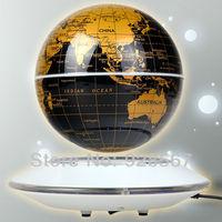 NEW Magnetic Levitation Floating 6inch Glod Globe W/white base with LED light Gift Furniture Decoration Free Shipping