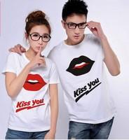 Free Shipping Fashion couple t shirt loves man women autumn beach wear short sleeve cotton heart t-shirt m xl