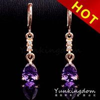 2014 Mixed Order Free shipping 18K Rose Gold Filled Violet long Earrings shine Anniversary fashion women Dangler Jewelry CZ0400