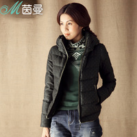 Inman 2013 winter polka dot slim down coat female short design with a hood thickening
