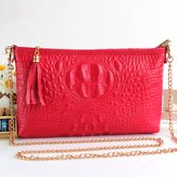 New 2014 Fashion 100% Genuine Leather Candy Messenger Bag Women Crocodile Skin Small Chain Lady Shoulder Crossbody Bag 3d