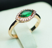 Retail and Wholesale Pretty Fashion 18K Rose Gold Plated Eye Crystal 3 Color Wedding Ring R784  Free Shipping Worldwide