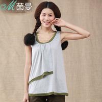 Inman 2013 100% cotton elegant chiffon patchwork o-neck vest small 8320300015