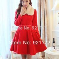 2014 petals collar skirt red slim overcoat fur collar one-piece dress thickening