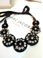 2014 Best Seller Black Crystal Flower Collar Necklace Bib Necklace Wholesale Free Shipping (Min Order $20 Can Mix)