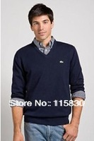 12 color fashion brand new POLO Men's V-neck cotton sweaters men's long sleeve sweater