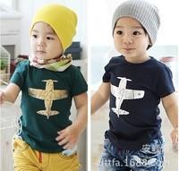 Free Shipping New 2014 Summer 100% Cotton Fashion Plane Children T Shirts,Kids Boys Tops,Child Tees Clothing Blue Green 5389