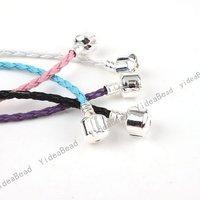 Wholesale - 5pcs Colorful LEATHER BRAID Clasp BRACELET 17cm Fit European Charms Beads 151664
