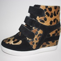 women genuine leather shoes winter matte Velvet Surface leopard skins with (3-5CM) short plush fashion casual shoes Y094