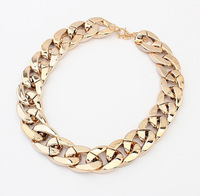 New 2014 Vintage Jewelry Women Fashion Big Chunky Necklaces PVC Gold Chain Necklace