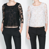 Semi Womens Sheer Sleeve Embroidery Floral Lace Crochet Tee T-Shirt Top Blouse
