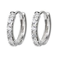 GNE0764 Promotion Hot sale Sterling silver Zircon Jewelry Hoop Earrings 13x13x2mm Fashion 925 Earrings for women free shipping