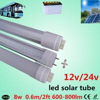4pcs/lot  led tube t8 60cm 8w led tube t8 12v  2ft led solar tube high power 600-800lm 24V  led tube lamp bus lamp Free shipping