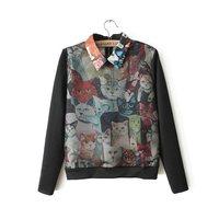 Free shipping! 2014 new spring fashion designer cat print pattern turn-down collar  women's top shirt 2 color black white