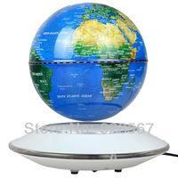 Blue Antigravity Magnetic Levitation Floating 6inch Globe white Base with W/LED Light Gift Furniture Decoration Free Shipping