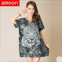 Amoon / Women New Spring Summer Casual Ice Cotton Leopard Print Rhinestone Dress F3012/Free Shipping /Plus Size /Gray Colors
