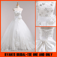 HS6522 Bride Bandage Lacing Wedding Dress 2014 Satin Bow Wedding Dresses Ball Gown Sweep Train Bridal gown