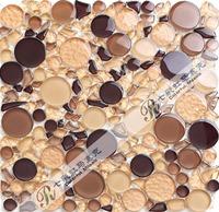 [Colorful Mosaic] Round & Irregular Mixed Crystalized Glass Mosaic Tile Especially for Kitchen Backsplash